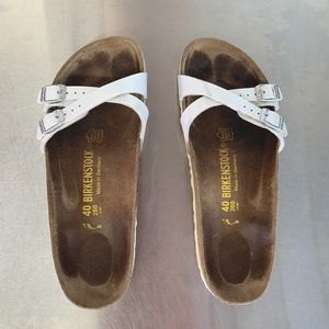 Birkenstock Leather sandals patent white 40 cross